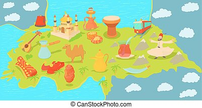 Turkey travel map horizontal banner, cartoon style