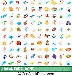 100 ankara icons set, isometric 3d style