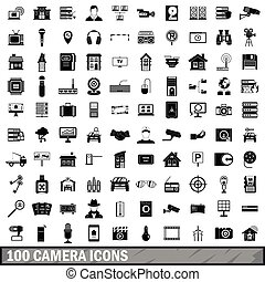 100 camera icons set, simple style - 100 camera icons set in...