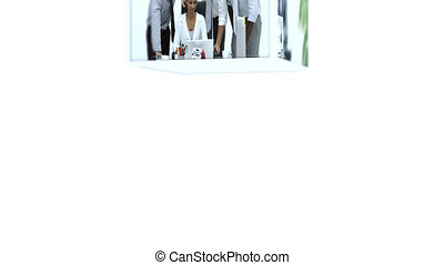Montage businesspeople at work against white background