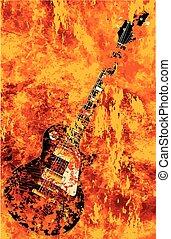 Burning Black Rock Guitar - A solid body electric guitar...