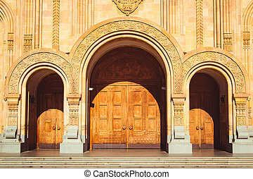 Triple church arched wooden door. Fretted arches. Exquisite...