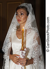 Beautiful bride on wedding ceremony