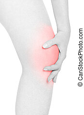 Woman touching her red painful kneecap on white, clipping...