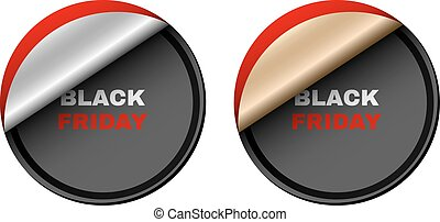 Black Friday super sale. Banner and gold and silver stickers with white and red text. Event of the year