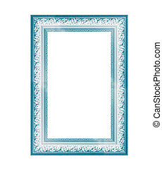 Blue vintage frame isolated on white background