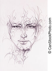 Mystic man face and ornament. pencil drawing on old paper. -...