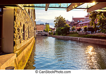 River and waterfront of Ljubljana sunset view, capital of...
