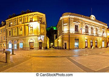 Ljubljana square and landmarks evening panoramic view,...