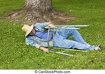 man with a walker falling down in the park - elderly man...
