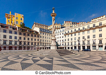 Town Hall Square in Lisbon, Portugal - Town Hall Square with...