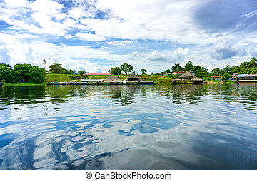 Small Amazonian Village - Small village on the shore of the...