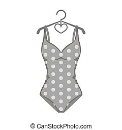 Bright green swimsuit with yellow flowers. Clothes for girls...