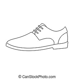 Mens leather shiny shoes with laces. Shoes to wear with a suit.Different shoes single icon in outline style vector symbol stock illustration.