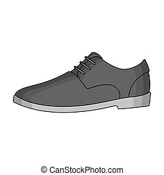 Mens leather shiny shoes with laces. Shoes to wear with a suit.Different shoes single icon in monochrome style vector symbol stock illustration.