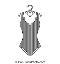 Blue women stripe swimsuit. Clothes for swimming. Swimcuits...
