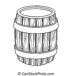Oak barrel beer. A barrel in which beer is brewed. Pub single icon in outline style vector symbol stock illustration.