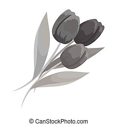 Bouquet of red tulips. Easter single icon in monochrome...