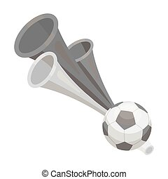 Trumpet football fan.Fans single icon in monochrome style...