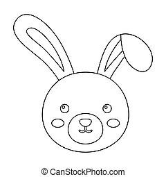 Grey rabbit with long ears. Easter single icon in outline...