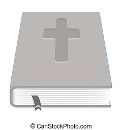 Book with a cross on the cover. The Bible. Easter single...