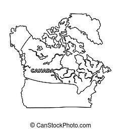 Map of Canada. Canada single icon in outline style vector symbol stock illustration web.