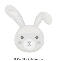 Grey rabbit with long ears. Easter single icon in monochrome...