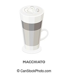 Cup of coffee macchiato with foam. Different types of coffee...