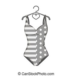 Pink swimsuit for the beach stripe and star.Swimming...