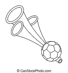 Trumpet football fan.Fans single icon in outline style vector symbol stock illustration.