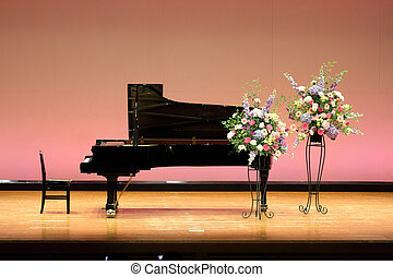grand piano on the stage