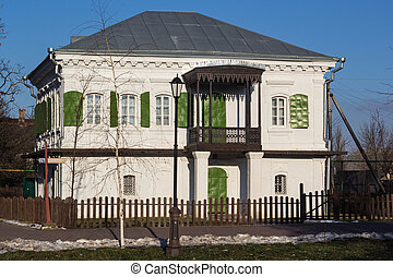 White Wooden old house in Russia - Beautiful White Wooden...