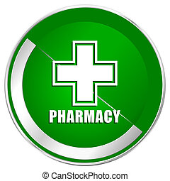 Pharmacy silver metallic border green web icon for mobile apps and internet.