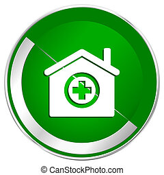 Hospital silver metallic border green web icon for mobile apps and internet.