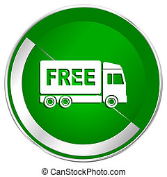 Free delivery silver metallic border green web icon for...