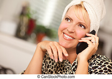 Attractive Caucasian Woman Talking on Cell Phone