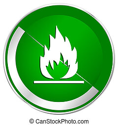 Flame silver metallic border green web icon for mobile apps and internet.
