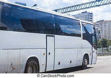 white tourist bus