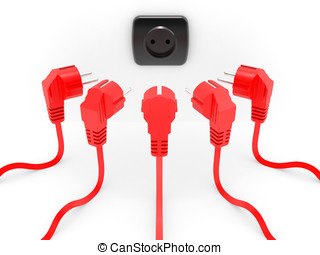 Red electric plug the leadership concept