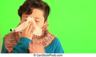 Sick child with chroma green screen - Child at home sick...