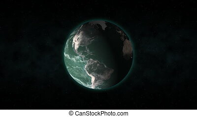 Green Earth 24fps - From outer space, the camera pushes in...