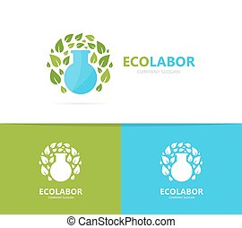 Vector of flask and leaf logo combination. Laboratory and...