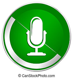 Microphone silver metallic border green web icon for mobile...