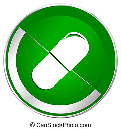 Drugs silver metallic border green web icon for mobile apps...