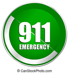 Number emergency 911 silver metallic border green web icon for mobile apps and internet.