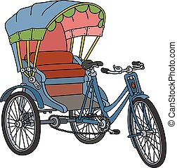 Classic cycle rickshaw - Hand drawing of a classic...
