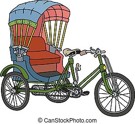 Old cycle rickshaw - Hand drawing of a classic cycle...