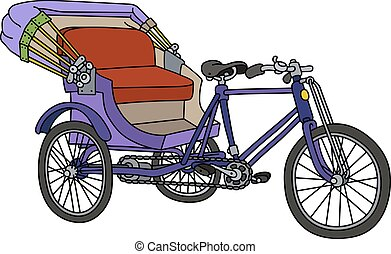 Violet cycle rickshaw - Hand drawing of a classic violet...
