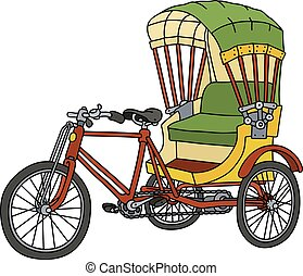 Color cycle rickshaw - Hand drawing of an old color...