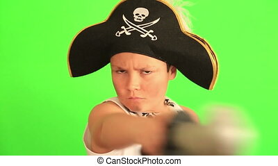 Little pirate with chroma green screen - Little boy wearing...